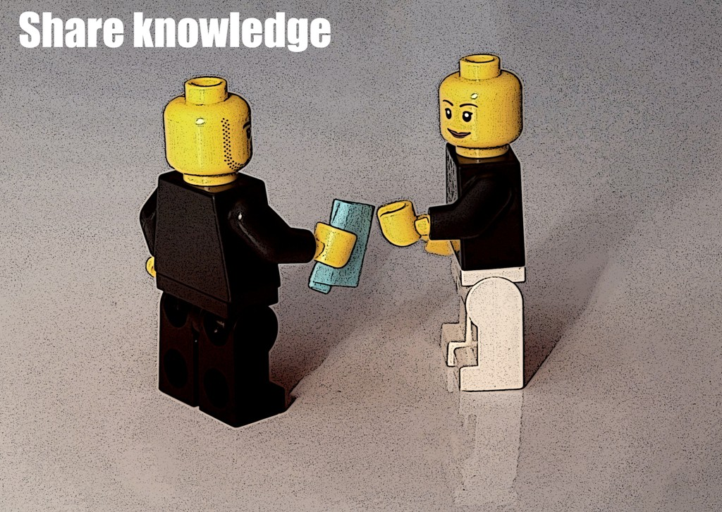 Lego minifigs sharing knowledge
